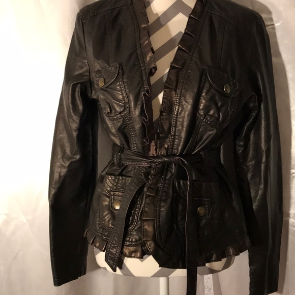 04aeb4a0 Dollhouse Jackets & Blazers - Dollhouse Dark Brown Belted Faux Leather  Jacket